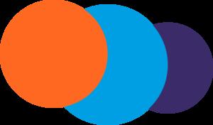 Ensemble de rond orange bleu et violet