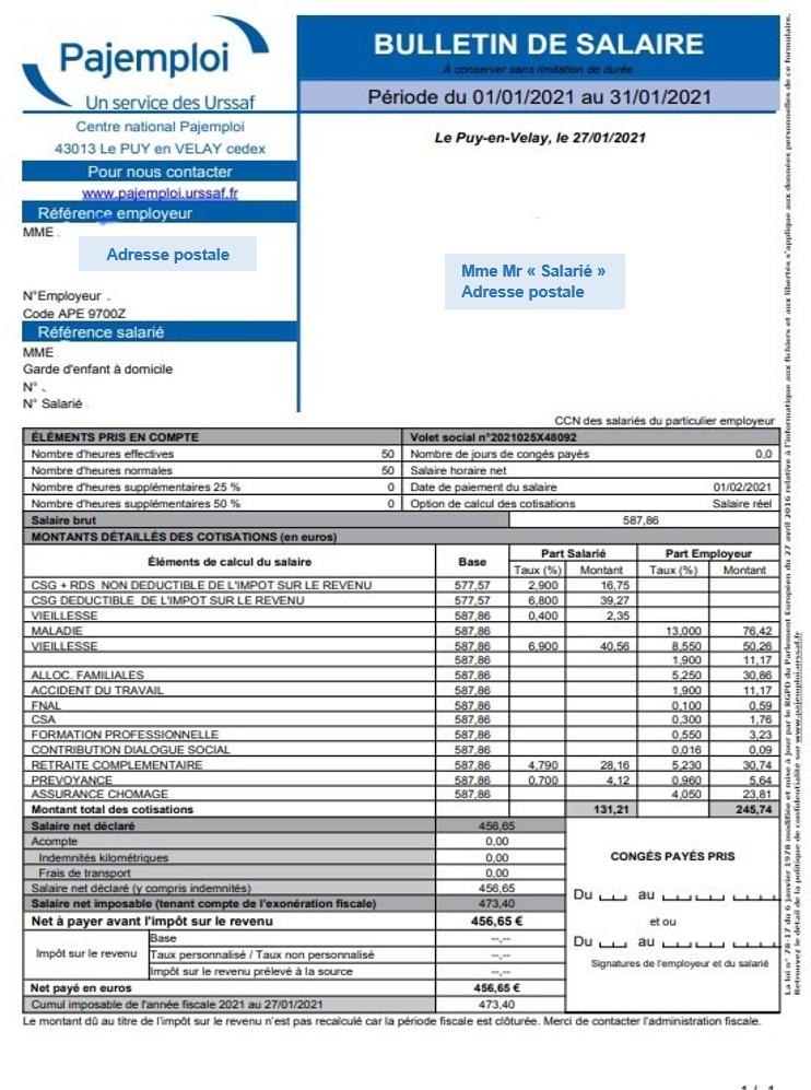Bulletin de salaire pajemploi
